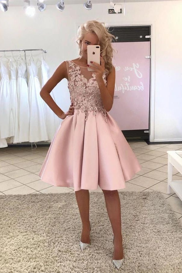 Pink Satin Lace Short A-line Cute Homecoming Dresses For Teens Z2127