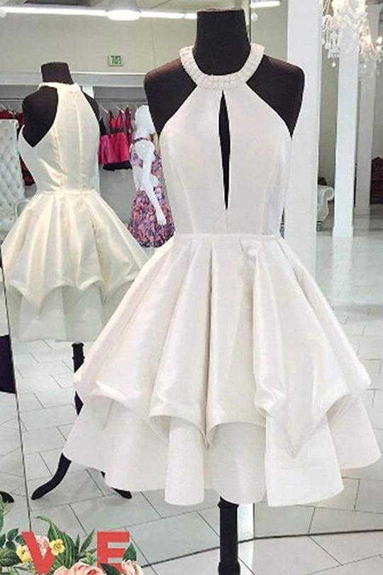 Ivory Elegant Short Simple Cheap Homecoming Dresses Cute Dresses Z2137