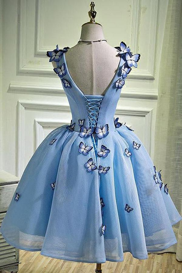 V-neck Light Blue Short Cute Homecoming Dresses With Butterflies Z2139