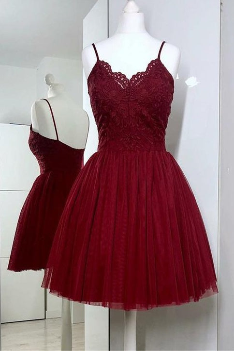 Spaghetti Straps Burgundy Lace Tulle Simple Short Homecoming Dresses Z2143