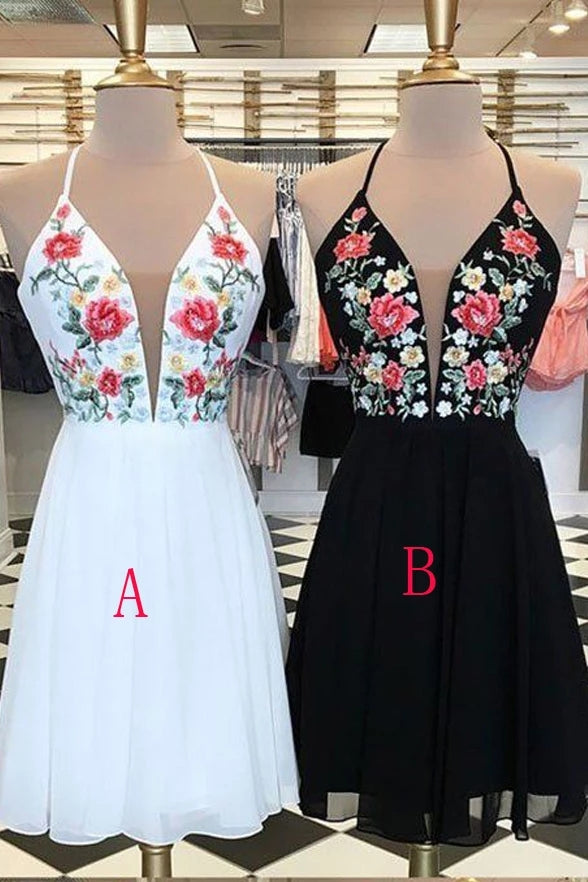 Cute V-neck Open Back Chiffon Short Embroidery Homecoming Dresses For Teens Z2154