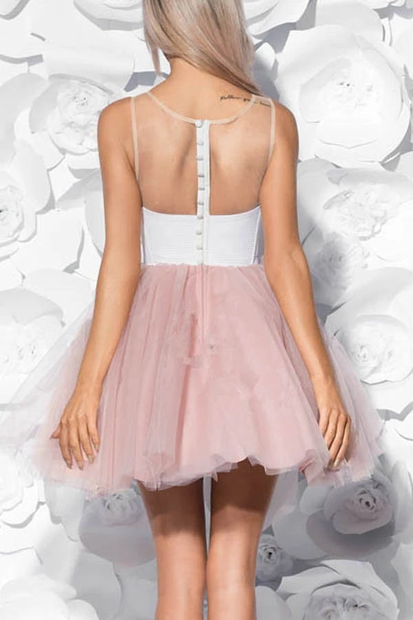 Pretty Ivory And Pink Short Cute Dresses Simple Homecoming Dresses Z2157