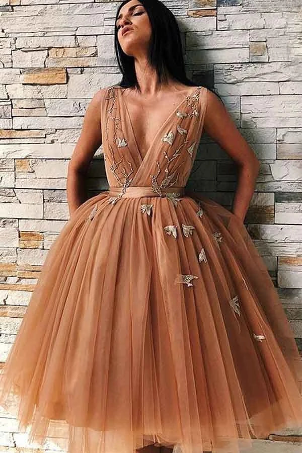 Deep V-neck Balll Gown Charming Open Back Homecoming Dresses Party Dresses Z2164