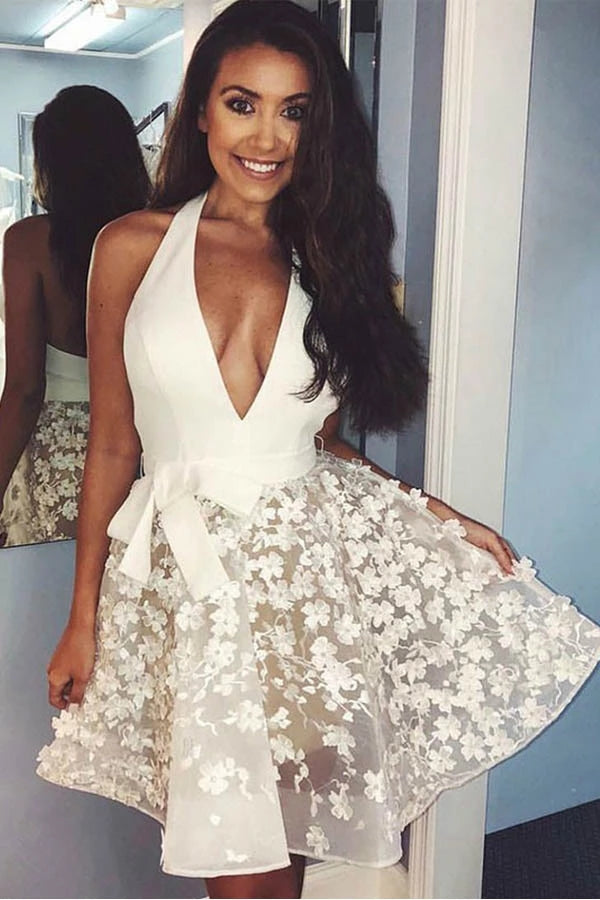 Ivory Halter Open Back Deep V-neck Short Homecoming Dresses Cute Dresses Z2166
