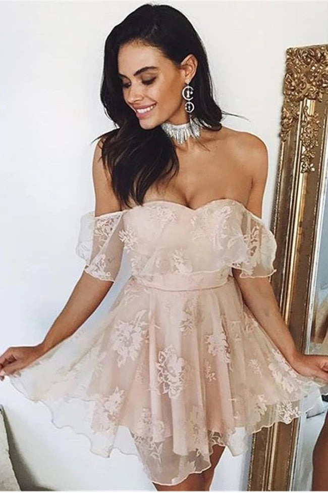 Cute Off The Shoulder Pink Lace Simple Short A-line Homecoming Dresses Z2167