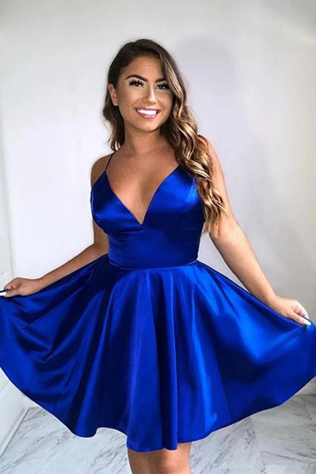 Spaghetti Straps Royal Blue V-neck Simple Cheap Homecoming Dresses Party Dresses Z2168