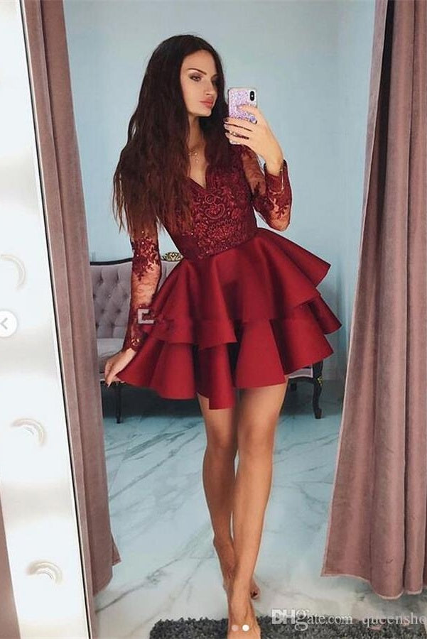 Pretty Long Sleeves V-neck Short Homecoming Dresses For Teens Party Dresses Z2171