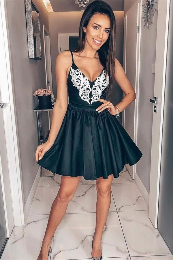 Spaghetti Straps Simple Black Short A-line Homecoming Dresses Cute Dresses Z2172