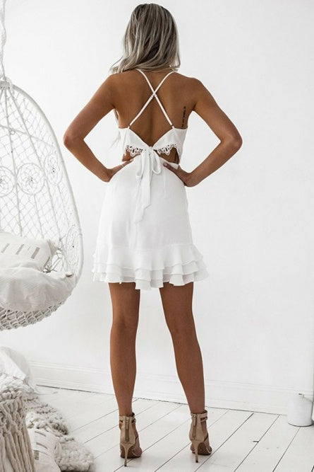 Cute Simple Elegant Spaghetti Straps Short Backless Homecoming Dresses Z2174
