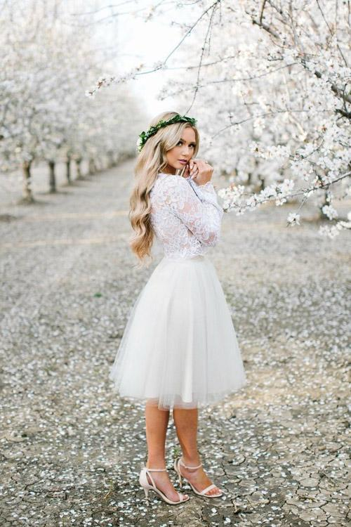 Elegant Long Sleeves Lace Tulle Princess Homecoming Dresses Cute Dresses Z2177