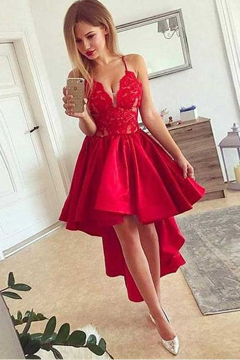 High Low Red Spaghetti Strap Lace Satin Party Dresses Homecoming Dresses Z2180