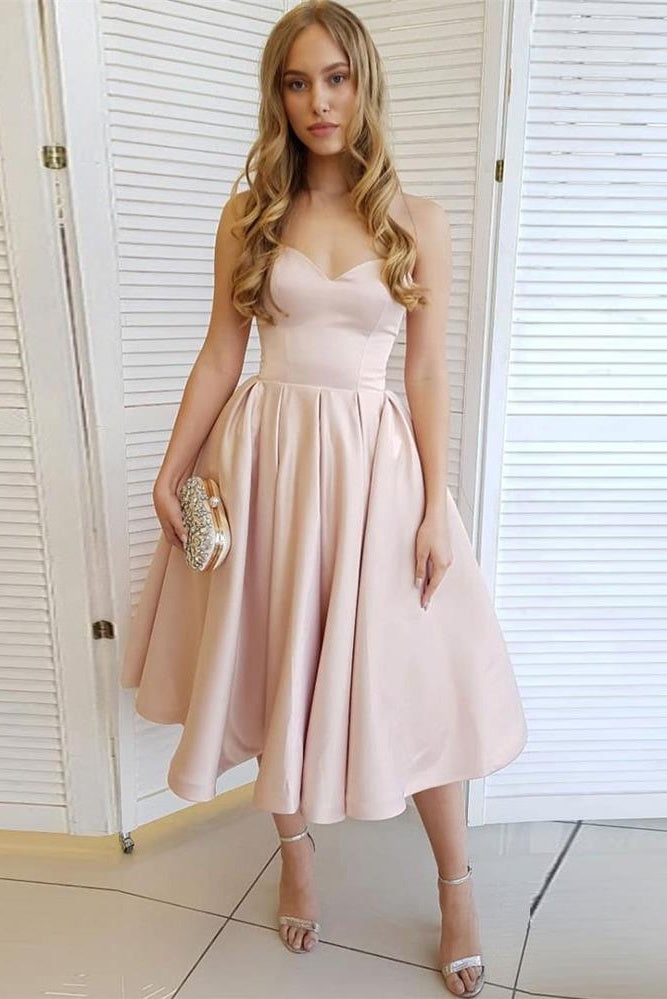 Sweetheart Elegant Simple Tea Length Party Dresses Homecoming Dresses Z2184