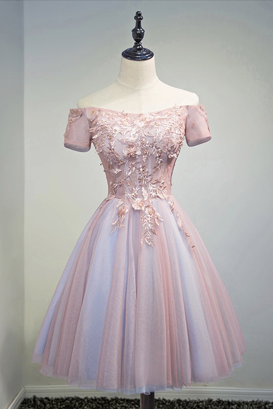 Light Blue And Pink A-line Cute Homecoming Dresses Short Prom Dresses Z2201