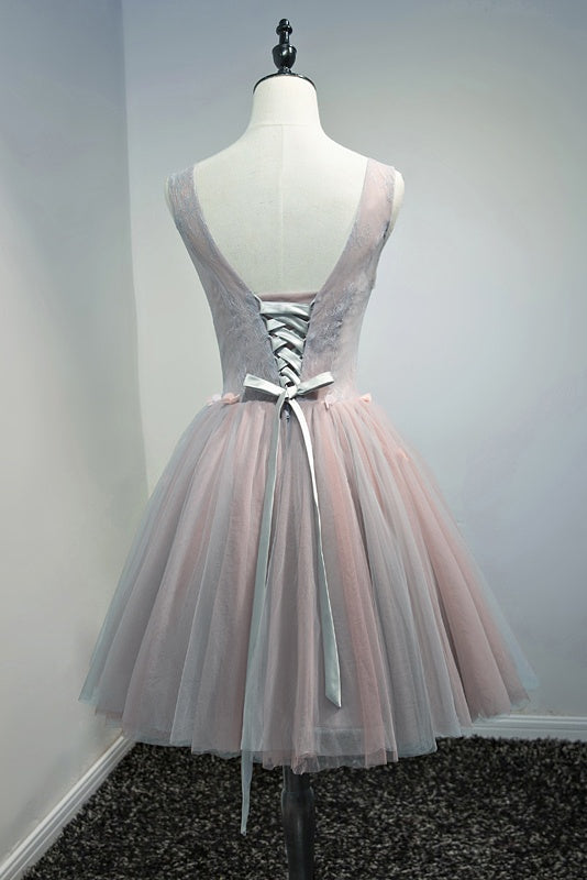 Girly V-neck Lace Up Short Simple Elegant Pretty Homecoming Dresses Z2202