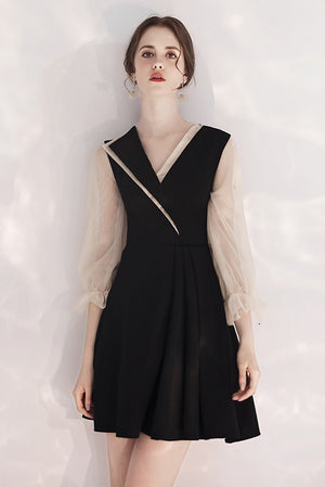 Vintage Black Simple A-line Homecoming Dresses With Sleeves Z2213