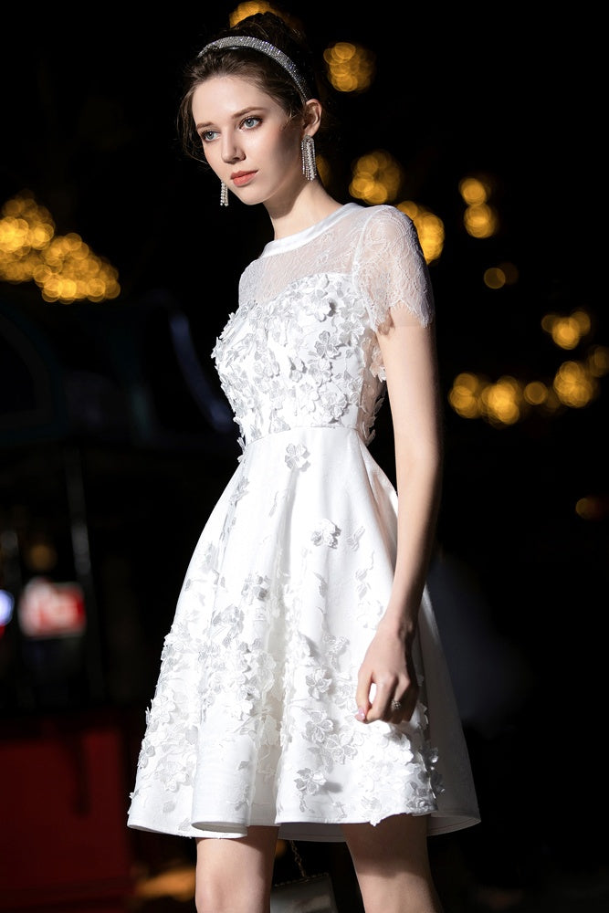 Elegant Short Sleeves Formal Cocktail Dresses Homecoming Party Dresses Z2215