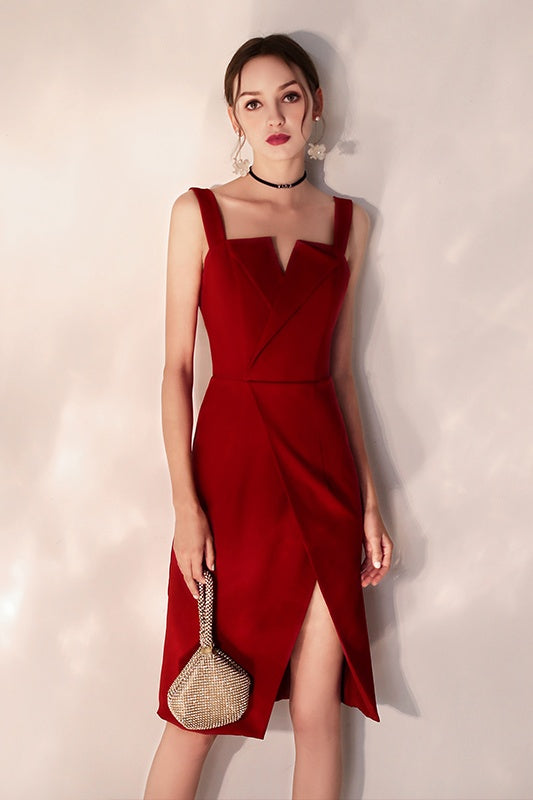 Simple Burgundy Knee Length Sheath Backless Homecoming Dresses Party Dresses Z2217
