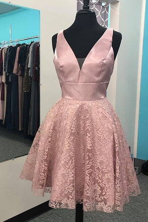 Pretty V-neck Pink Lace Satin V-neck Short Homecoming Dresses Z2223