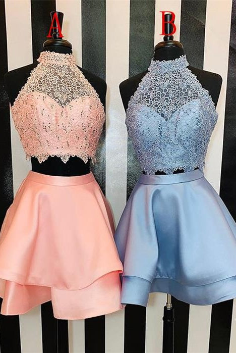 Two Pieces Elegant Lace Satin Open Back Short Homecoming Dresses For Teens Z2228
