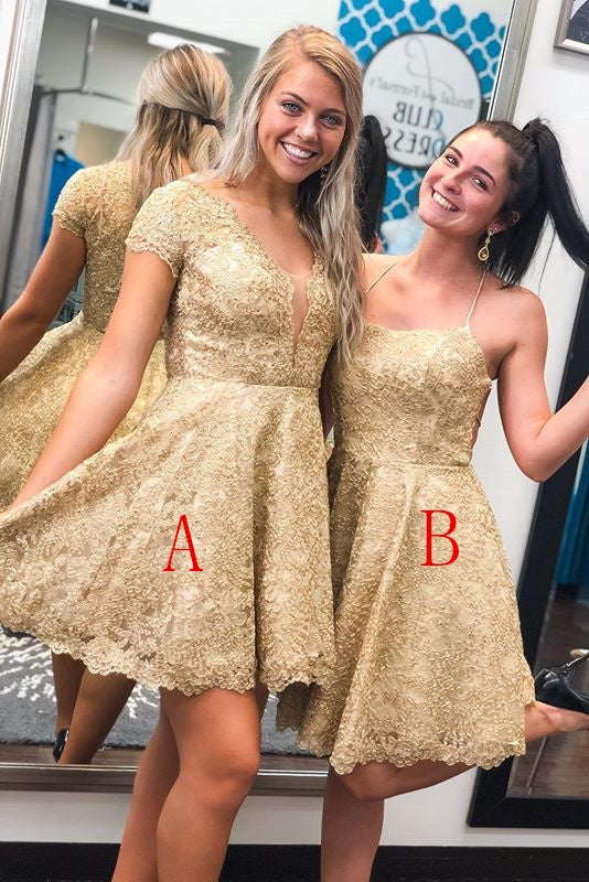 Unique Gold Lace Short Beauty Homecoming Party Dresses For Teens Z2229
