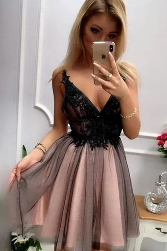 Simple V-neck Pink And Black A-line Short Lace Homecoming Dresses Z2233