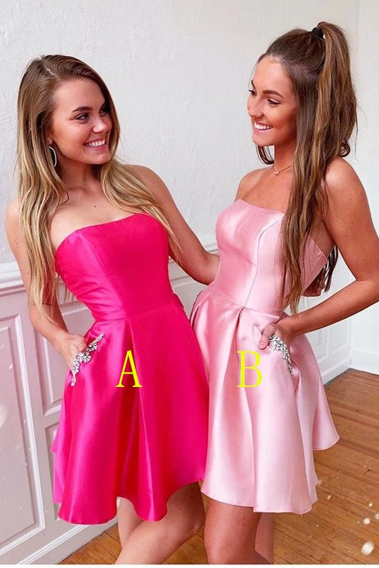 Strapless A-line Satin Cute Short Homecoming Dresses With Pockets Z2234