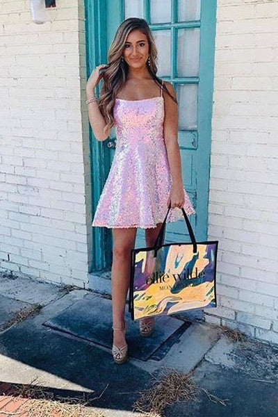 Pretty Sparkly Pink Sequins Shiny Short Homecoming Party Dresses Z2239
