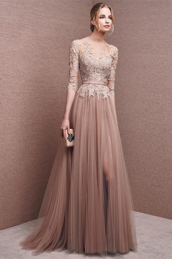 Elegant Lace Tulle Long Backless Prom Dresses Pretty Party Dresses Z2244