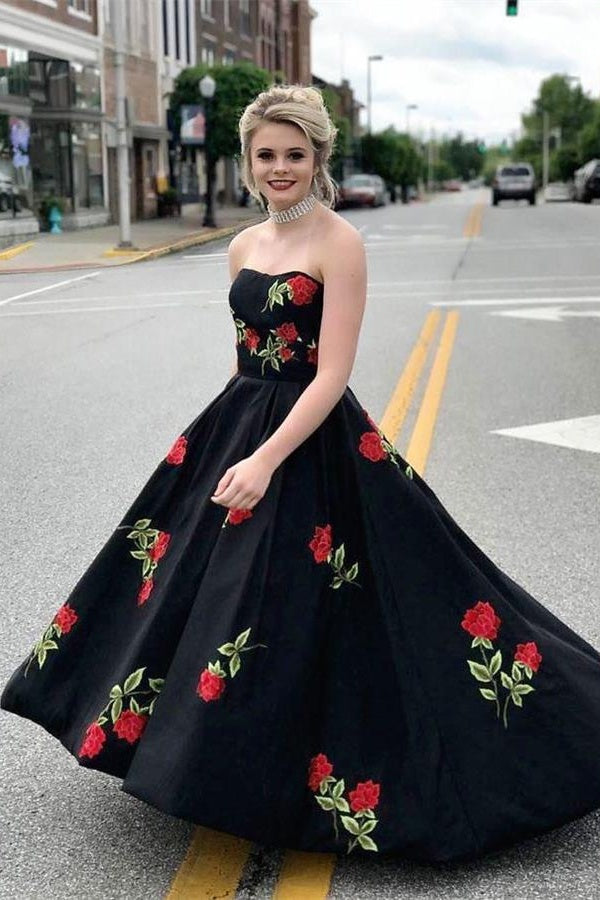 Black Strapless Lace Up Long Beautiful Prom Dresses For Teens Princess Prom Dresses Z2252
