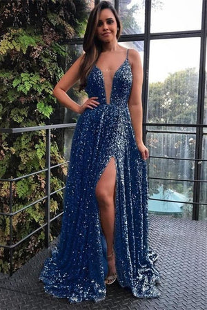Spaghetti Straps Sparkly Long A-line Blue Party Prom Dresses Fashion Dresses Z2253