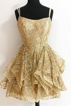 Sparkly Gold Short Spaghetti Straps Homecoming Dresses Prom Dresses Z2282