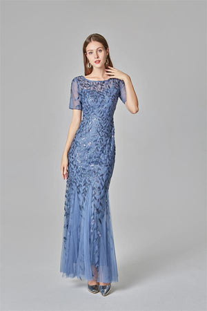 Pretty Short Sleeves Sheath Long Prom Dresses Cheap Prom Gowns Z2283