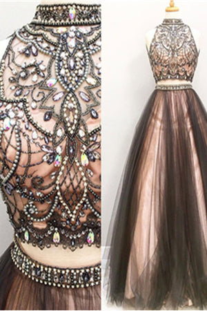 Two Pieces Beaded Black And Pink Long Modest Prom Dresses,Dresses For Teens Z0124