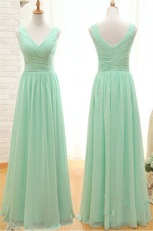 V-neck A-line Chiffon Long Simple Cheap Bridesmaid Dresses,Backless Bridesmaid Dresses Z0012