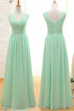 V-neck A-line Chiffon Long Simple Cheap Bridesmaid Dresses,Backless Bridesmaid Dresses Z0012 - Bohogown