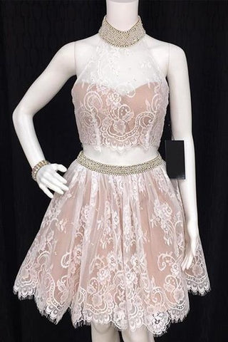 Two Pieces Lace Short A-line Halter Open Back Homecoming Dresses Z0010 - Bohogown