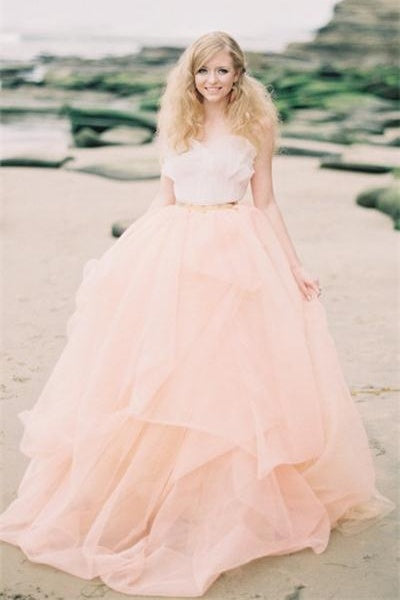 Princess Pink Tulle Wedding Dresses,Simple Cheap Wedding Gowns Z0003 - Bohogown