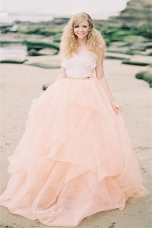 Princess Pink Tulle Wedding Dresses,Simple Cheap Wedding Gowns Z0003