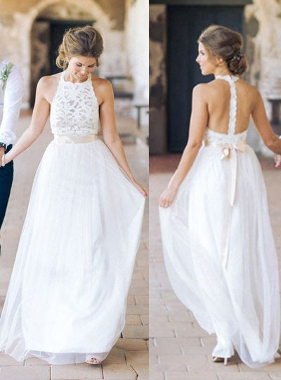 White Lace Tulle Long Wedding Dresses,Beach Wedding Dresses Z0004