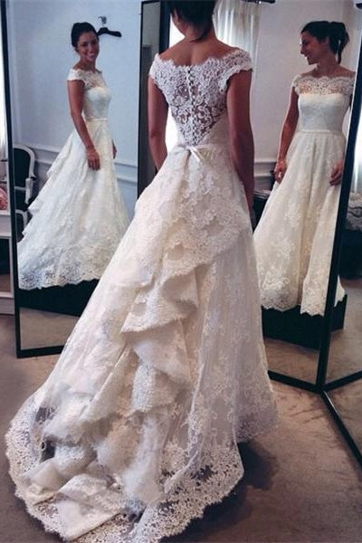 Modest Ivory Lace Long Cap Sleeves Wedding Dresses,Wedding Gowns Z0005 - Bohogown