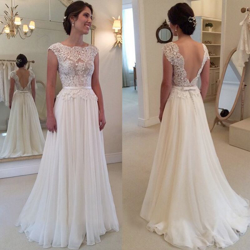 eb0a087541d42 Elegant Lace Long Backless Wedding Dresses,Ivory Wedding Dresses Z0006