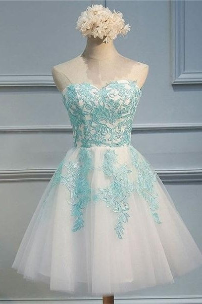 Sweetheart Short Lace Tulle Cute Lace Up Homecoming Dresses For Teens Z0007