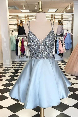 Backless Beaded V-neck Short A-line Saprkly Homecoming Dresses Z0009 - Bohogown