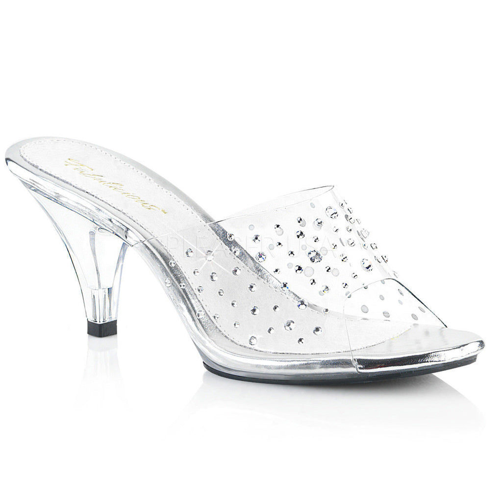 PLEASER Belle-301RS Clear Rhinestones Fitness Bikini Comp Slides Heels Size 4-15 - A Shoe Addiction