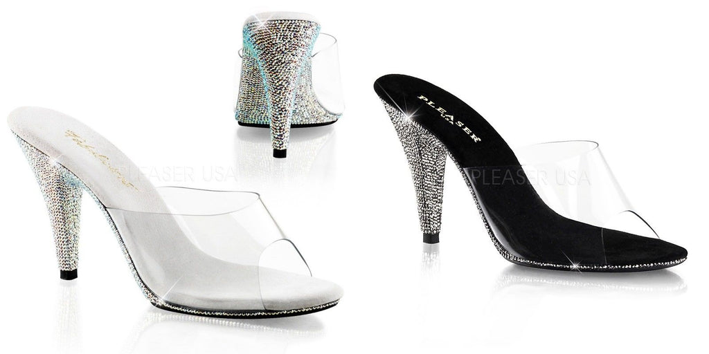 "Discontinued FABULICIOUS Caress-401DM Clear Rhinestones Prom Wedding 4"" Heels"