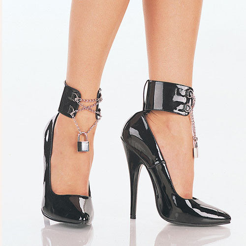 "DEVIOUS Domina-434 Fetish Goth Ankle Cuffs Drag Pumps 6"" Heels Women's Size 4-15 - A Shoe Addiction"