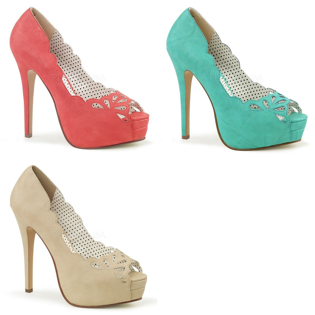 Discontinued PINUP COUTURE Bella-30 Coral Teal Tan Cutout Work Dress Pumps Heels - A Shoe Addiction