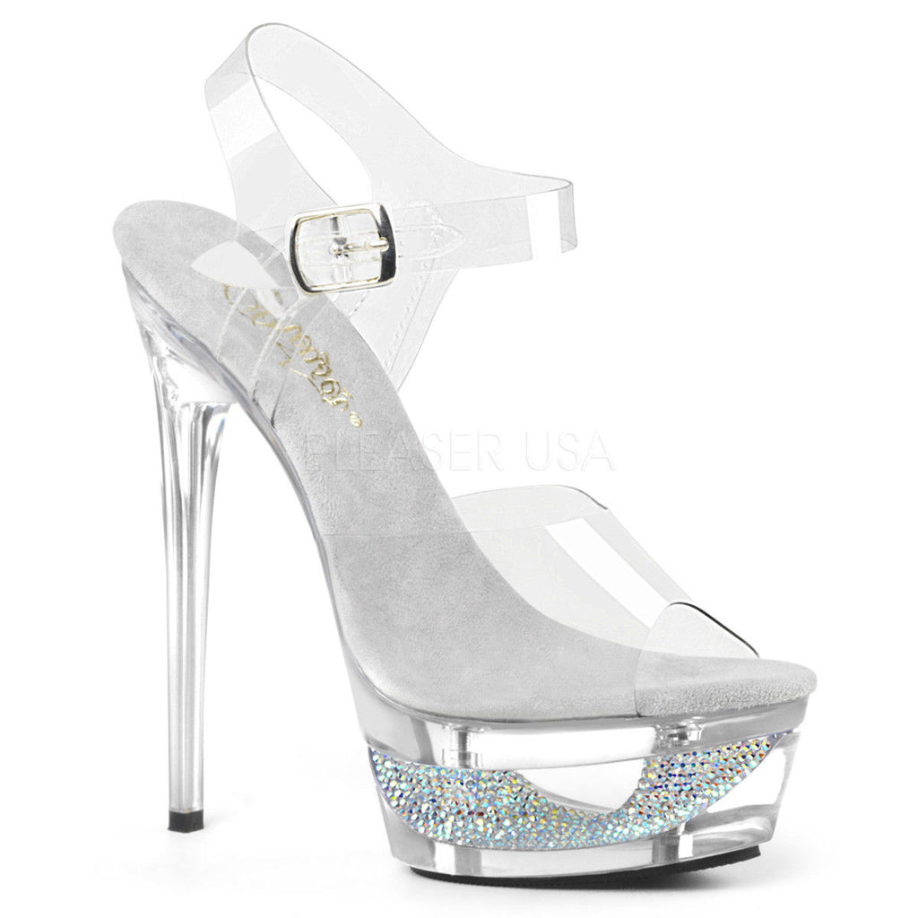 PLEASER Eclipse-608DM Clear See Through Rhinestone Cut Out Platforms Strap Heels - A Shoe Addiction