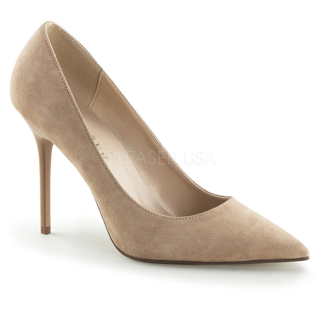 "PLEASER Classique-20 Nude Real Suede Work Dress Party Pumps 4"" Heels Sizes 4-15"