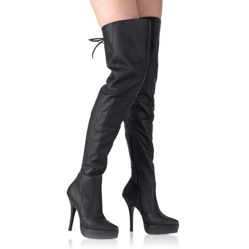 DEVIOUS Indulge-3011 Leather Drag Fetish Laces Thigh Boot Plus Size 5-15 - A Shoe Addiction